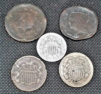 Lot of 5 Us Coins - 2 Braided Hair 1c - 2  2c pieces - 1 Shield Nickel W Rays