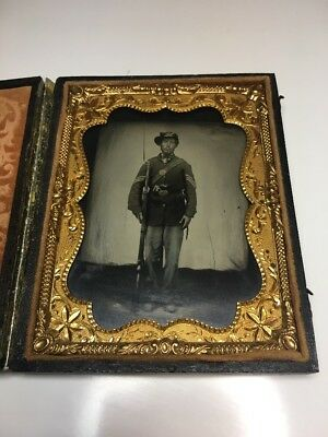 Ambrotype Tintype Armed Confederate Civil War Soldier Photo Musket Revolver Gun