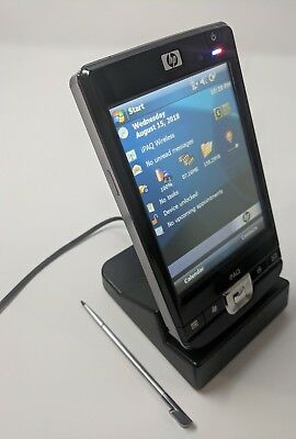 HP iPAQ 214 Enterprise PDA & Sync cradle & charger & USB cable & slip case.