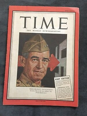 Time Magazine Pacific Pony Edition May 1, 1944. General Omar Bradley. WWII.