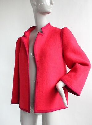 VTG 1970's Lanvin Paris Numbered Haute Couture Red Wool Coat