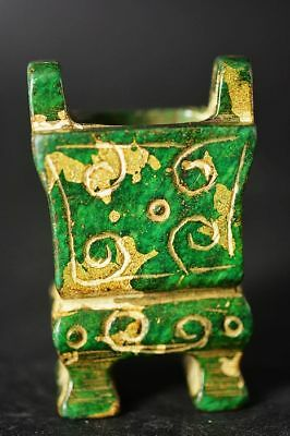 Exquisite Chinese Old green Jade carving Ding/Incense burner   F19