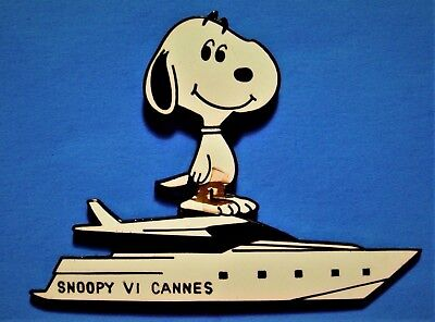 Snoopy Vi Yacht - Cannes - Peanuts - Very Rare Large Vintage Lapel Pin - Pinback