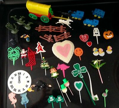 Lot of Vintage Cake Toppers and Pick Decorations Holidays, Birthday