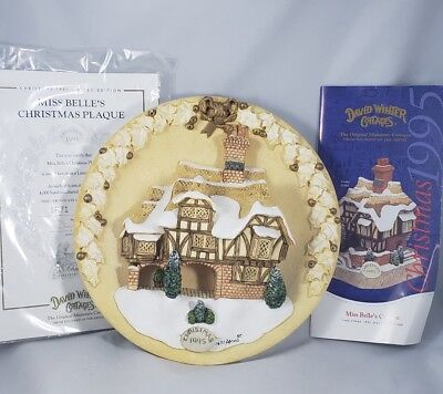 "David Winter Cottages "" Miss Belle's Christmas Plaque"" Ltd. /4000 NOS W/ COA"