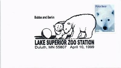 Dr Jim Stamps Us Polar Bears  Bubba Berlin Cancel Lake Superior Zoo Cover 1999