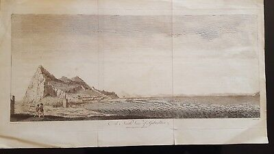 """antique engraving """" A North View of Gibraltar"""" 1785"""