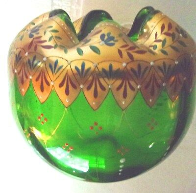 Beautiful Hand Painted Gold & Green Glass Rose Bowl