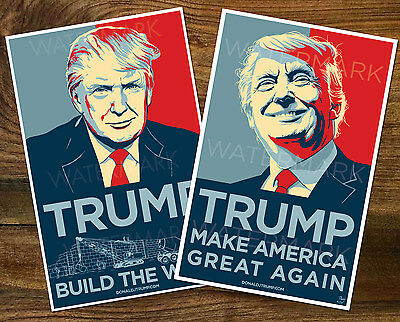 2 RARE Donald Trump Build The Wall, MAGA  Official Campaign Posters  11x17 Poppy
