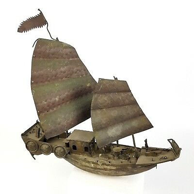 Folk Art Ship Boat Weathervane Chinese Naval Sailing Copper Weather Vane
