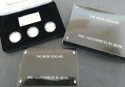 "1990 Australia ""The Silver Dollars"" set of 3 Silver (.925) $1 coins and plaque"