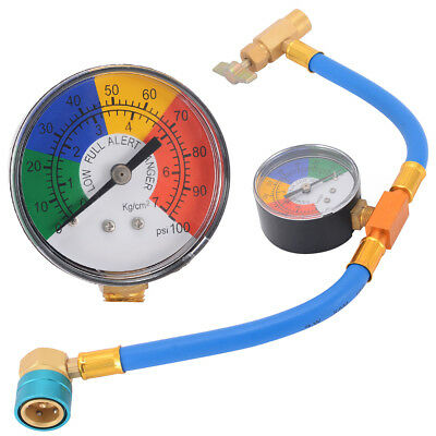 R-1234yf Air Conditioning Refrigerant Cans Recharge Hose Coupler Pressure Gauge