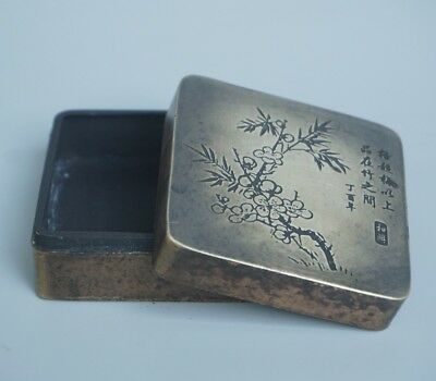 Chinese Exquisite Handmade Plum blossom Text copper box