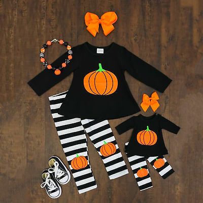 Striped Toddler Kids Baby Girls Pumpkin Outfits Clothes T-shirt Tops+Long Pants