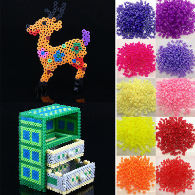 1000/500PCs 5mm Hama Beads Perler Beads Baby Kids Early Education DIY Toys