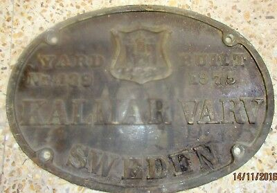 Vintage Ship/Engine Builder Brass ORIGINAL Plaque/Plate KALMAR VARV 1975