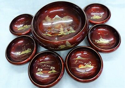 Aizu red lacquer salad bowl set, 7 pieces, used Made in Japan