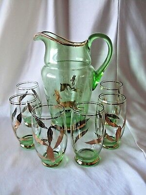 Green Glass Water Jug And 6 Glasses With Gold Decoration