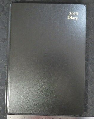 Diary 2019 A4 Week To View No Frills Robust Hardcover Basic Black