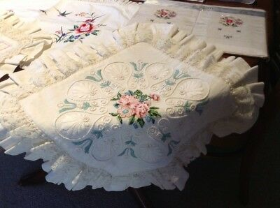Bulk vintage Embroidered Pillow shams & cushion Covers New And Used.