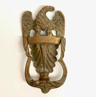 Heavy Old Solid Brass Eagle Shield Door Knocker Antique Vintage Large Patriotic