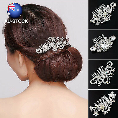 Bridal Wedding Hair Comb Crystal Pearls Hair Pins Women Hair Side Clip Headpiece