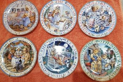 6 Genuine - Franklin Mint Bear Plate Collection (x6)