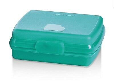 TUPPERWARE New SANDWICH KEEPER Hinged LUNCH Teal BPA FREE Free US Shipping