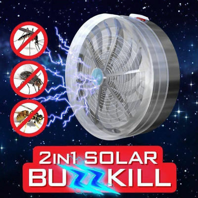 Solar Powered Buzz UV Lamp Light Fly Insect Bug Mosquito Kill Zapper Killer NEW