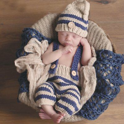 Newborn Baby Photography Props Outfits Boy Crochet Knitted Hat & Pant Set