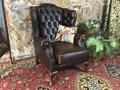 Vintage Chesterfield Leather Gasciogne Wingback Chair-Lounge-Sofa-Armchair