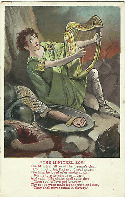 "Song Postcard - ""The Minstrel Boy"", (Slavery) - Valentines"