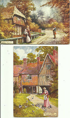 "Two Postcards - Cottages in Kent, UK - By Artist ""Jotter"""