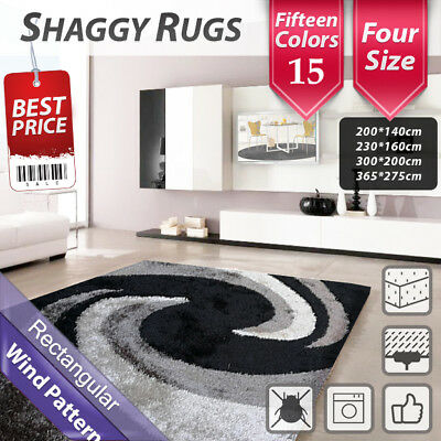 Black Grey Pattern Shag Shaggy Floor Confetti Area Rug Carpet 300x200cm