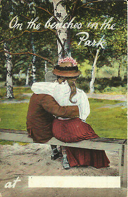 """Greeting Postcard - """"On the Benches in the Park"""" - Early Century"""