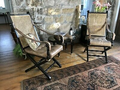 "Pair Leather""PRIZMIC & BRILL"" Campaign Chairs~Folding Arm Chairs~New York"