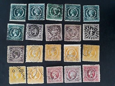 Rare 1860- NSW Australia Lot - 20 X Large Diadem stamps Different values Used