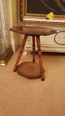 antique oak hexagonal side table, arts and crafts