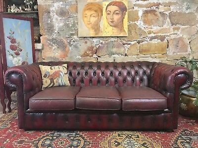 Vintage Leather Chesterfield 3 Seater Sofa-Lounge-Chair-Aged