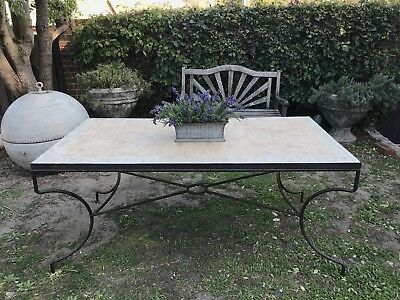 Vintage French Provincial Style Outdoor/Indoor Table~Mosaic Tile~Wrought Iron