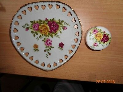 Westminster Old English Rose 1623 Wall Plate& Bone China Trinket Box-Shabby Chic