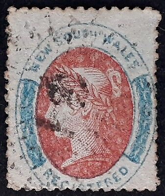Rare 1860- NSW Australia 6d Rose red & Prussian blue REGISTERED stamp P12 Used