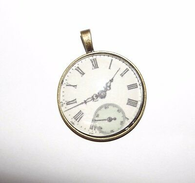 Glass Dome Cabochon Pendant Necklace Vintage Clock St.Valentine Mum's Day Gift