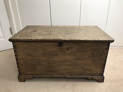 Beautiful Victorian Antique Vintage Old Pine Chest /Wooden Trunk / Blanket Box