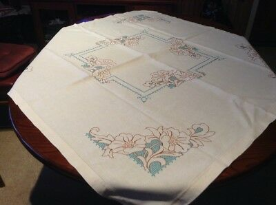 hand embroidered vintage tablecloth  floral  124X119