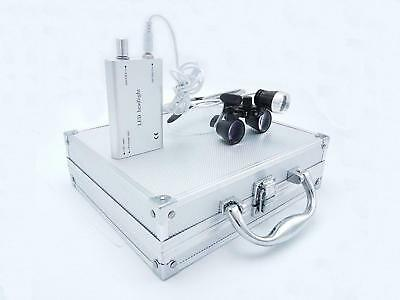 Dental Binocular Loupes 2.5X with 1W LED Headlight Lamp+Aluminum Box Silver