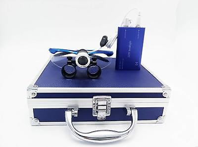 Dental Binocular Loupes 2.5X with 1W LED Headlight Lamp+Aluminum Box Blue