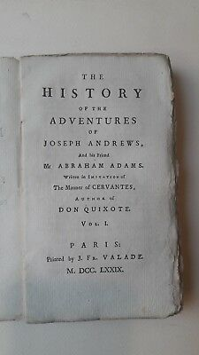 Libro The History Of The Adventures Of Joseph Andrews I Edizione 1779 Paris