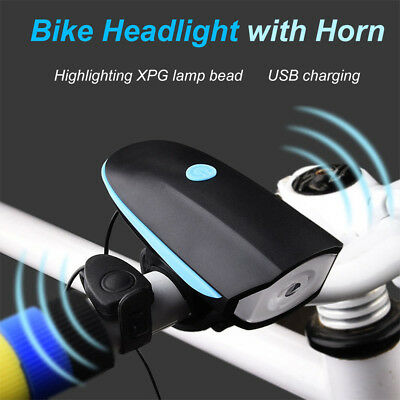 USB Mountain Bike Bicycle LED Headlight Taillight Flashlight Lamp Rechargeable