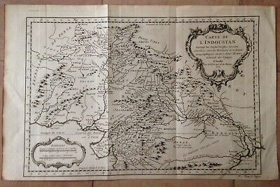North India Dated 1752 Nicolas Bellin Nice Antique Copper Engraved Map